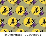 witch riding a bloom pattern | Shutterstock .eps vector #726045931