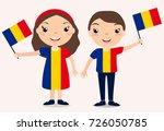 smiling chilldren  boy and girl ... | Shutterstock . vector #726050785