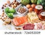 Small photo of Assortment of healthy protein source and body building food. Meat beef salmon chicken breast eggs dairy products cheese yogurt beans artichokes broccoli nuts oat meal