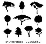 set of tree silhouettes for... | Shutterstock . vector #72606562