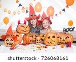 two little girls in costumes... | Shutterstock . vector #726068161