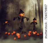 Halloween Scarecrows In A...