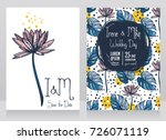 two wedding cards with lotus... | Shutterstock .eps vector #726071119