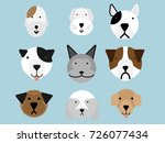 set of dogs flat style vector... | Shutterstock .eps vector #726077434
