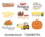 thanksgiving harvest food logo... | Shutterstock .eps vector #726080701