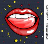 fashion girls lips with red... | Shutterstock . vector #726082591