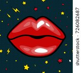 fashion girls lips with red... | Shutterstock . vector #726082687