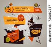 halloween modern sale banners....   Shutterstock .eps vector #726082957