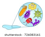 cartoon microbes in puddle   Shutterstock .eps vector #726083161