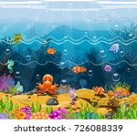 sea view and colorful coral... | Shutterstock .eps vector #726088339