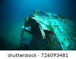 shipwreck  diving on a sunken... | Shutterstock . vector #726093481