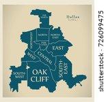 modern city map   dallas texas... | Shutterstock .eps vector #726099475