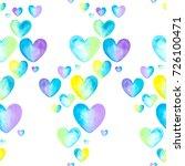 Watercolor Heart Pattern. Colo...