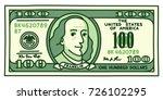 cartoon hand drawn 100 dollar... | Shutterstock .eps vector #726102295