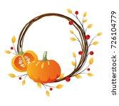 autumn wreath with pumpkins on... | Shutterstock .eps vector #726104779