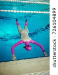 Small photo of freediving in the pool, static apnea dive