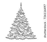 Christmas Tree. Contour Drawing....