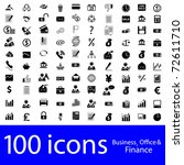 100 icons business  office  ... | Shutterstock . vector #72611710