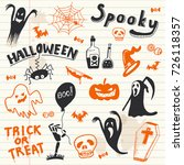 halloween doodles elements.... | Shutterstock .eps vector #726118357