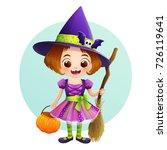 cute little witch in halloween... | Shutterstock .eps vector #726119641