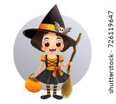 cute little witch in halloween... | Shutterstock .eps vector #726119647
