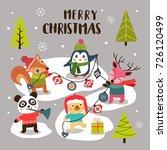 merry christmas background with ... | Shutterstock .eps vector #726120499