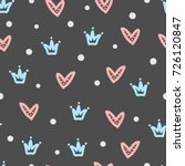 crowns  hearts  round dots.... | Shutterstock .eps vector #726120847