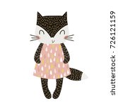 cute cartoon cat girl in... | Shutterstock .eps vector #726121159