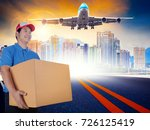 delivery man holding packing... | Shutterstock . vector #726125419