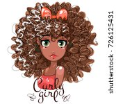 cute afro girl with curly hair  ... | Shutterstock .eps vector #726125431