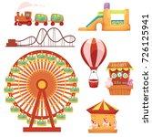 amusement park set   ferris... | Shutterstock .eps vector #726125941
