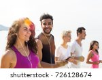 group of young people running... | Shutterstock . vector #726128674