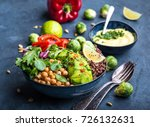 bowl with healthy salad and dip.... | Shutterstock . vector #726132631