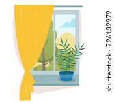 window in room with curtain and ... | Shutterstock .eps vector #726132979