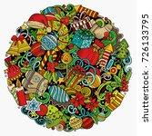 cartoon vector doodles new year ... | Shutterstock .eps vector #726133795