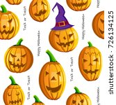 happy halloween pumpkins... | Shutterstock .eps vector #726134125