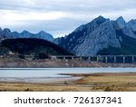 view of dry reservoir  with a... | Shutterstock . vector #726137341