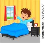 little boy wake up in the... | Shutterstock .eps vector #726140077