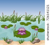 pond with colorful water lilies ...   Shutterstock .eps vector #726141121