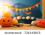 halloween pumpkin on the table... | Shutterstock . vector #726143815