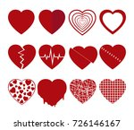 collection of red hearts icons... | Shutterstock .eps vector #726146167