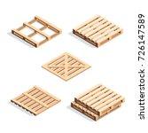 set of isometric wooden pallets.... | Shutterstock .eps vector #726147589