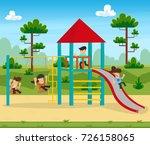 happy excited kids having fun... | Shutterstock .eps vector #726158065