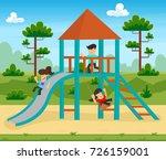happy excited kids having fun... | Shutterstock .eps vector #726159001
