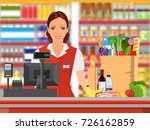 groceries cashier at work.... | Shutterstock .eps vector #726162859