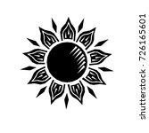 black and white sun woodcut... | Shutterstock .eps vector #726165601