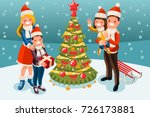 winter holiday family and... | Shutterstock . vector #726173881