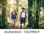 hiking couple. young couple... | Shutterstock . vector #726198019