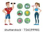 female and male trainers with... | Shutterstock .eps vector #726199981