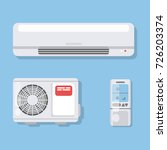 air conditioner set. fan and... | Shutterstock .eps vector #726203374